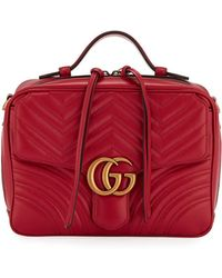 Gucci - GG Marmont Small Chevron Quilted Leather Top-handle Camera Bag With Web Strap - Lyst