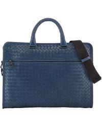 ae0bd1a7e746 Lyst - Bottega Veneta Intrecciato Woven Leather Briefcase in Gray