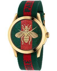 Gucci Le Marche Nylon Strap Watch