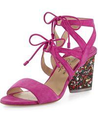 Edie Parker Rhoda Suede Glitter-heel Sandal - Pink