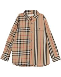 Burberry Amir Icon Stripe & Check Button-down Shirt - Natural