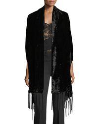 Bajra Silk Velvet Wrap W/ Tassel Ends - Black