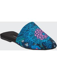 Natori Empress Floral-embroidered Mule Slippers - Blue