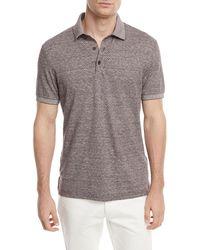 Ermenegildo Zegna - Linen-blend Micro-design Polo Shirt - Lyst