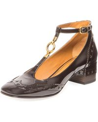 Chloé Perry Patent 45mm T-strap Pump - Brown