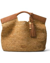 Michael Kors Xl Market Raffia Tote Bag - Brown