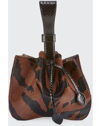 Alaïa Rose Marie Poulain Zebra-print Bucket Bag - Brown