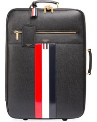 Thom Browne - Leather Trolley Suitcase With Tricolor Stripes - Lyst