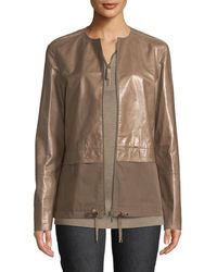 d23d341c6437 Lafayette 148 New York - Albany Lacquered Leather Jacket W/ Cotton Combo -  Lyst