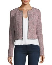 Theory - Ualana Z Beacon Tweed Zip-front Cropped Jacket - Lyst