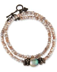 Armenta - Old World Mystic Moonstone & Pearl Bracelet With Champagne Diamonds - Lyst