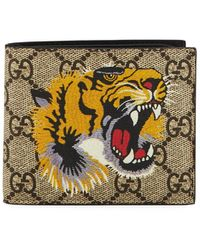 Gucci - Bestiary Tiger-print GG Supreme Wallet - Lyst