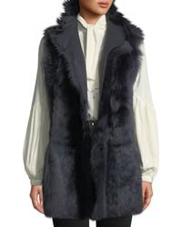Gushlow and Cole Mid-length Reversible Shearling & Leather Vest - Black