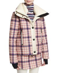 Moncler Flaine Houndstooth Hooded Jacket - Pink