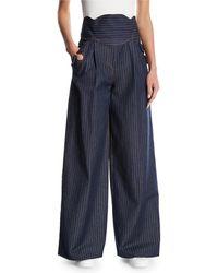 Rosie Assoulin - Wide-leg Pinstriped Denim Pants - Lyst