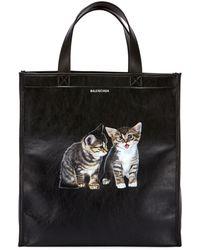 Balenciaga - Market Shopper Small Tote Bag With Kitten Animal Graphic - Lyst