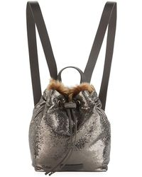 Brunello Cucinelli Broken-glass Effect Backpack With Shearling Fur - Gray