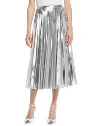 Ralph Lauren Collection - Nevina Metallic-pleated Midi Skirt - Lyst
