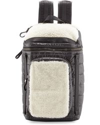 Moncler - Quilted Nylon Backpack W/shearling Trim - Lyst