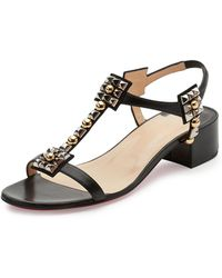 ae43e5bd3b4 ... coupon for sandals in christian louboutin kaleidra spike t strap red  sole sandal lyst c1a8a 98c15