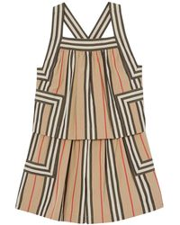 Burberry Girl's Florence Icon Stripe Tiered Romper - Natural
