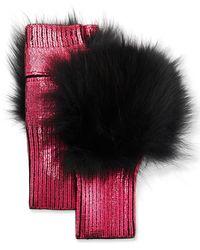 Jocelyn Metallic Fingerless Gloves W/ Fox Fur Trim