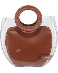 STAUD Frida Ring-handle Pvc/leather Tote Bag - Brown