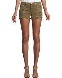 Etienne Marcel Distressed Denim Shorts - Green
