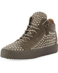 Giuseppe Zanotti - Men's Swarovski Crystal Studded Suede Mid-top Sneaker - Lyst
