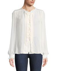PAIGE - Honour Button-front Silk Blouse - Lyst