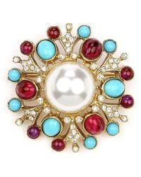 Ben-Amun Cluster Brooch W/ Pearly Centre - Blue