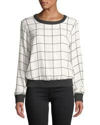 MILLY - Check-print Silk Georgette Sweatshirt - Lyst
