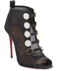 a5bf70bf8408 Lyst - Christian Louboutin Henrietta Lace Peep-toe Red Sole Bootie ...