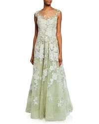bd72e2b88b40 Teri Jon - High-neck Cap-sleeve Embellished Tulle Gown W  Floral Lace