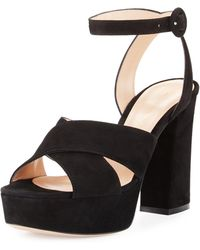 Gianvito Rossi - Suede Platform Ankle-strap Sandal - Lyst