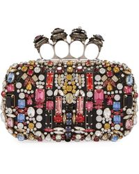 Alexander McQueen Jewelled Four-ring Embellished Leather Clutch Bag - Multicolour