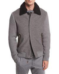 Ermenegildo Zegna - Zip-front Cashmere/wool Bomber Jacket W/ Shearling Collar - Lyst
