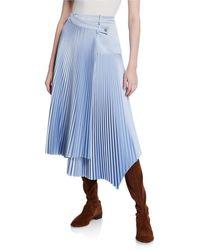 Cedric Charlier Pleated Asymmetric Skirt - Blue