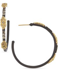 Armenta - 18k & Midnight Diamond Scrolls Hoop Earrings - Lyst