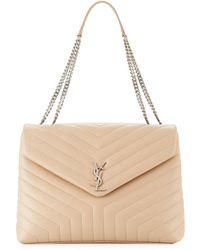Saint Laurent - Loulou Monogram Ysl Large V-flap Chain Shoulder Bag - Nickel Oxide Hardware - Lyst
