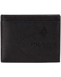 Prada - Men's Saffiano Leather Card Case With Savoia Logo - Lyst
