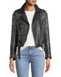 Nour Hammour - Studded Lambskin Leather Classic Moto Jacket - Lyst