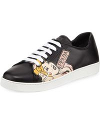 Prada - Comic Strip Leather Sneakers - Lyst
