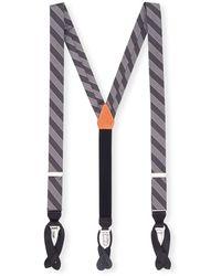 Trafalgar Men's Christopher Striped Formal Silk Braces - Black