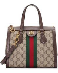 70eb09636e4 Gucci - Ophidia Medium GG Supreme Canvas Web Top-handle Tote Bag - Lyst