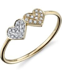 Sydney Evan - 14k 2-tone Gold Double Diamond Heart Ring - Lyst
