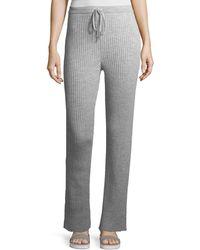 Marques'Almeida Ribbed Knit Drawstring Pajama Pants - Gray