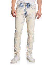 Men/'s Bleached Marble Wash Skinny Leg Stretch Denim Skins Punk 28 To 40 jeans