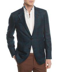 Ermenegildo Zegna Textured Check Cashmere Hemp Sport Coat - Gray