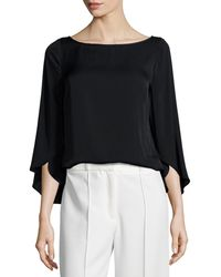 MILLY - Butterfly-sleeve Silk Blouse - Lyst